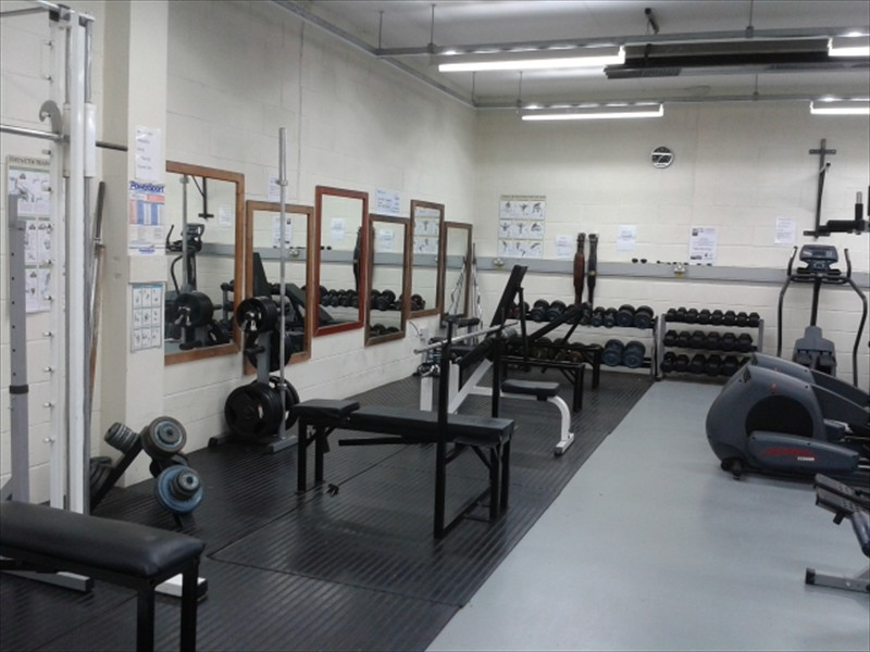 Free weight area with Olympic weights and dumbell racks
